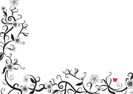 butterfly background: Vector illustration of funky floral black and white background. Decorated with red butterfly.