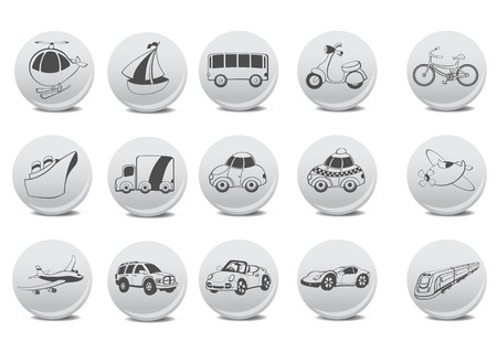 Vector illustration of transportation icons on the grey buttons. Vector