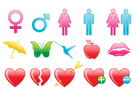Vector illustration of love symbol icons. Suitable for Valentines day cards. Vector