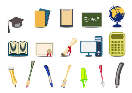 Vector illustration of academyeducational icons set. Vector