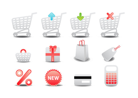 Vector illustration of shopping icons. Suitable for e-commerce, webshop and other network sales. Stock Vector - 4037339