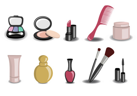 makeup powder: Vector illustration of Different beauty and fashion icons  Illustration