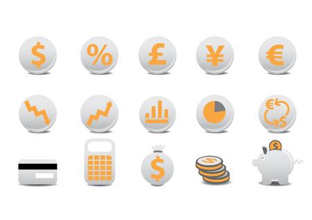 us coin: Ilustraci�n vectorial de botones financieros. Usted puede usarlo para su sitio web, la aplicaci�n, o la presentaci�n