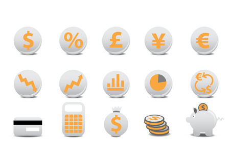 Vector illustration of financial buttons. You can use it for your website, application, or presentation Vector
