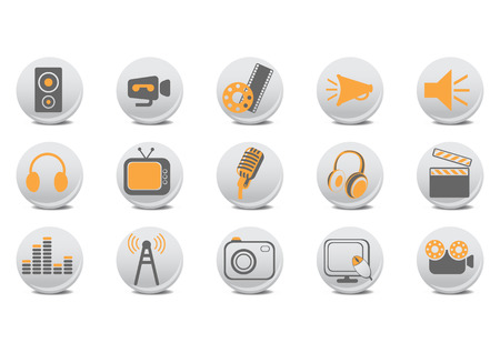 Vector illustration of video and audio buttons .You can use it for your website, application or presentation. Illustration