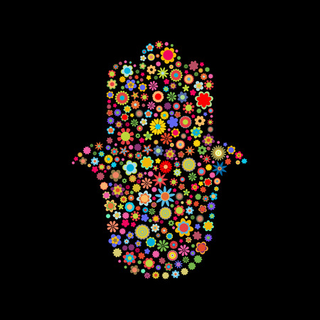 kiddush: Vector illustration of  hamsa shape  made up a lot of  multicolored small flowers on the black background
