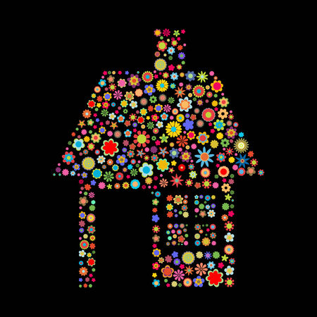 small flowers: Vector illustration of house  shape  made up a lot of  multicolored small flowers on the black background