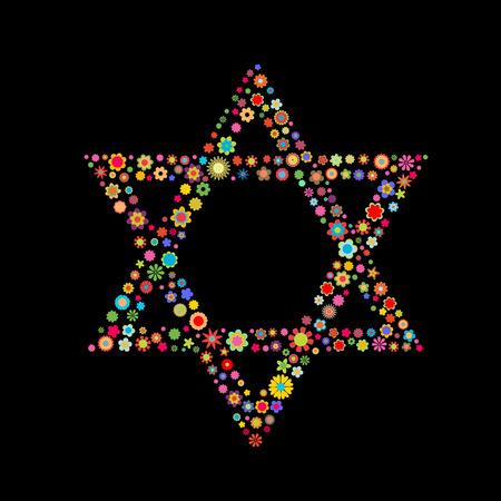 estrella de david: Ilustraci�n vectorial forma estrella de David formada por un mont�n de peque�as flores multicolores sobre el fondo negro Vectores