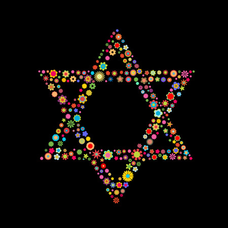 Vector illustration Star of David shape made up a lot of multicolored small flowers on the black background