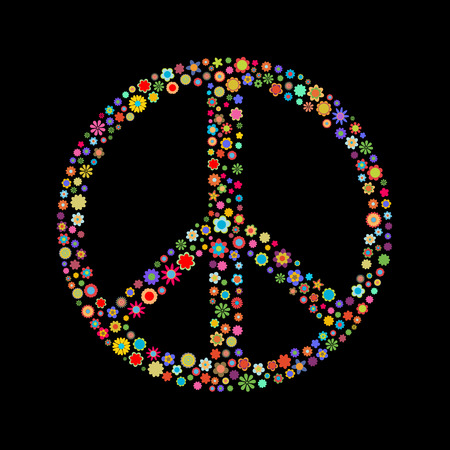 Vector illustration  Peace sign  made up a lot of  multicolored small flowers on the black background