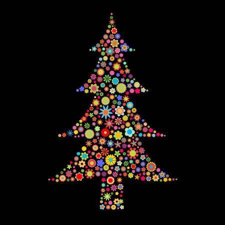 flores peque�as: Ilustraci�n vectorial forma el �rbol de Navidad formado por un mont�n de peque�as flores multicolores en el fondo negro