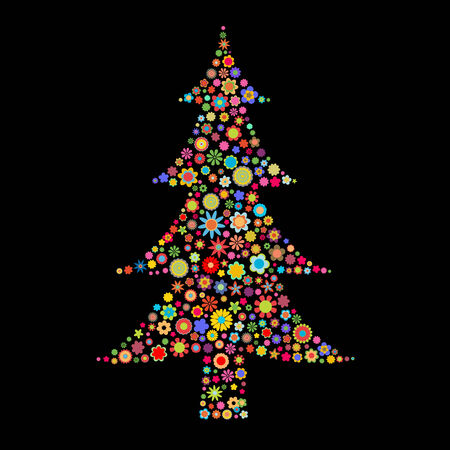 small flowers: Vector illustration Christmas tree shape  made up a lot of  multicolored small flowers on the black background
