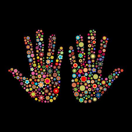 individualit�: Illustrazione vettoriale di mano traccia forma fatto un sacco di piccoli fiori multicolori su sfondo nero Vettoriali