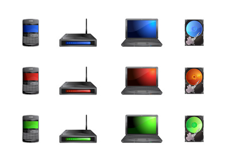 Vector illustration of modern, hi-tech computer icons. Includes the images of PDA, router, laptop and cd drive. Vector