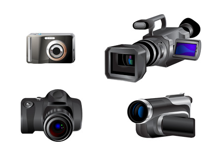 Vector illustration of different kinds of video and photo cameras. Stock Vector - 4037349