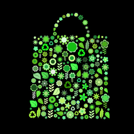 Vector illustration of bag shape  made up a lot of  green small flowers and leaf on the black background Vector