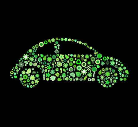 flores peque�as: Ilustraci�n vectorial de forma coche formado por un mont�n de peque�as flores y verde hoja en el fondo negro Vectores