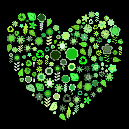 Vector illustration of heart shape made up a lot of  green small flowers and leaf on the black background Vector