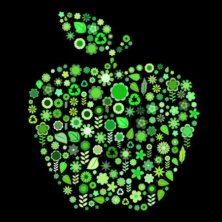 Vector illustration of  apple shape made up a lot of  green small flowers and leaf on the black background Vector
