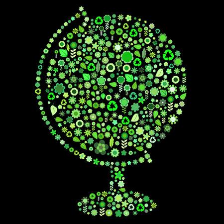 petites fleurs: Vector illustration du monde forme une grande partie des espaces verts de petites fleurs et des feuilles sur le fond noir