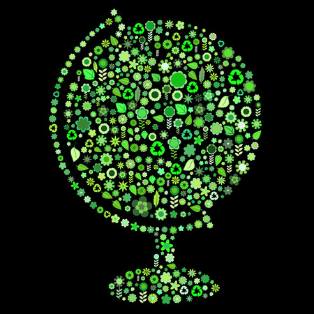 Vector illustration of globe shape  made up a lot of  green small flowers and leaf on the black background Vector