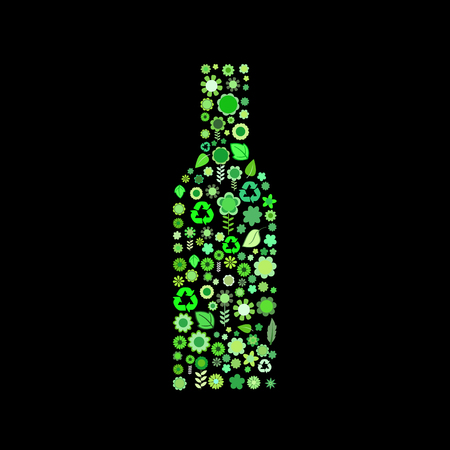 Vector illustration of bottle shape made up a lot of  green small flowers and leaf on the black background Vector