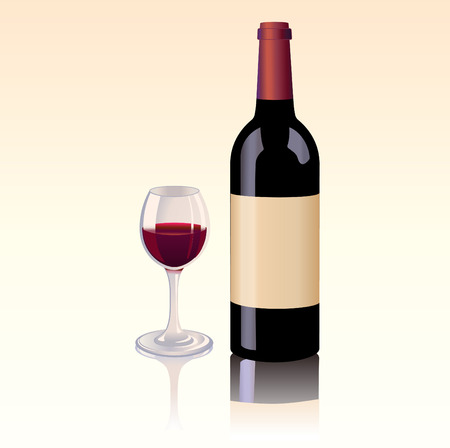 Vector illustration of  Classic, attractive bottle of red wine with a blank label and a glass with red wine Vector