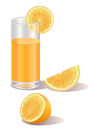 juicy: Vector illustration of  glass of orange juice and a half of orange fruit