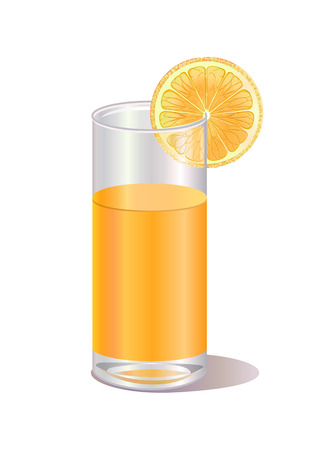 Vector illustration of  glass of orange juice and a orange fruit Vector