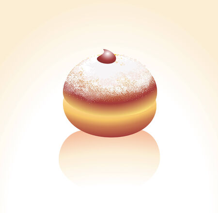 застекленный: Vector illustration of donut, sprinkled with a sugar powder and decorated with a jam drop.