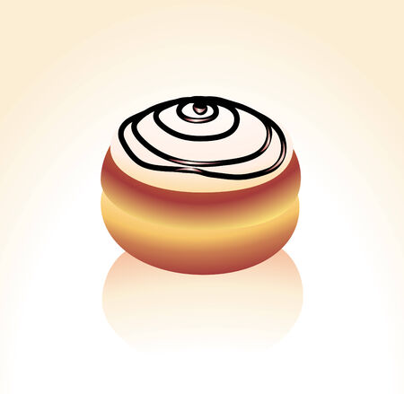 Vector illustration of Vanilla icing covered and Chocolate swirl  donut Stock Vector - 4049155