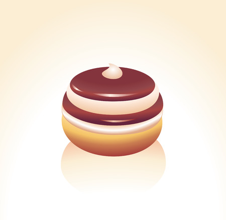 застекленный: Vector illustration of Chocolate icing covered donut decorated with a cream drop.