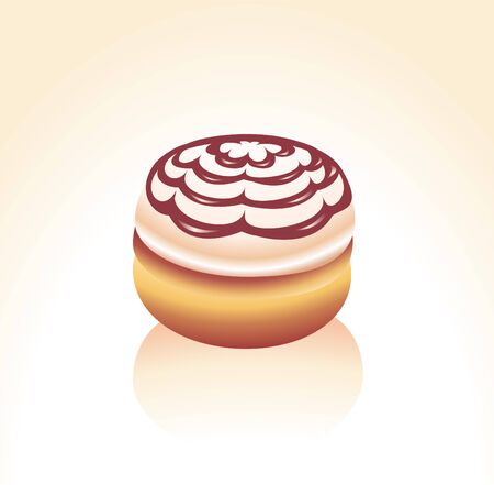 Vector illustration of Vanilla icing covered and Chocolate swirl  donut Stock Vector - 4049156