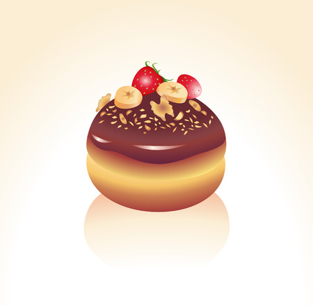 bagels: Vector illustration of Chocolate icing covered and sprinkled with strawberry, banana and nuts donut