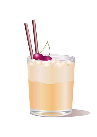 Vector illustration of whiskey drink, decorated with cherry and straw Vector