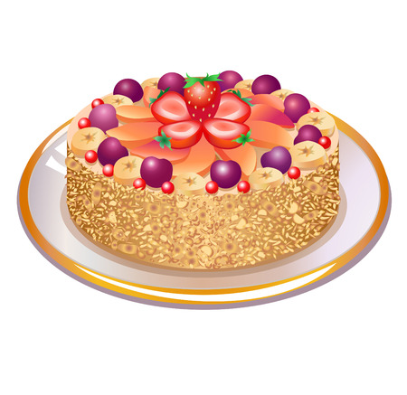 This is a vector illustration  of wonderful  pie with nuts and berries on a plate