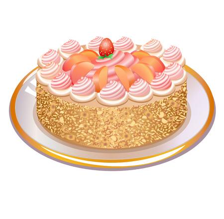 Dit is een vector illustratie van heerlijke taart met noten en slagroom op een plaat