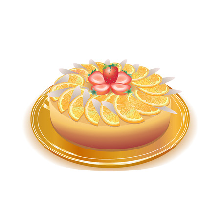 This is a vector illustration  of wonderful  pie with orange  and strawberries on a plate