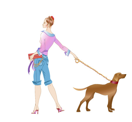 This is a vector illustration beautiful girl with big dog