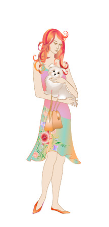 Vector illustration of a young women holding her dog in the hands. Vector