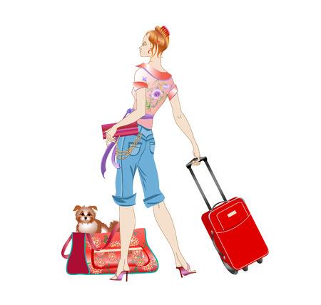 people traveling: Vector illustration of young women holding the suitcase during her traveling with the dog.