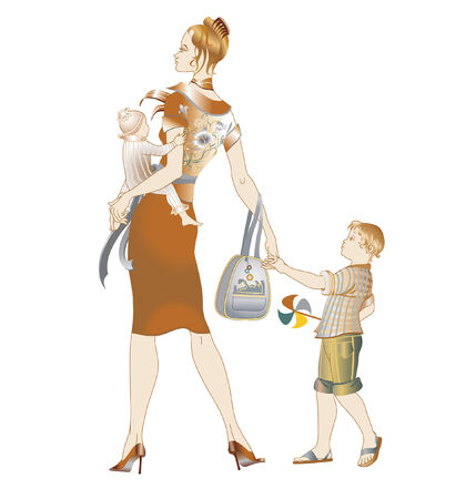 Vector illustration of young mother walking with her childrens.  Vector