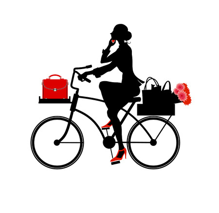 Vector  Illustration of Silhouette a beautiful business woman speaking on the phone while riding a bicycle.  Vector