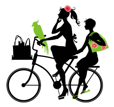 Vector  Illustration of Silhouette of two  beautiful  womans  riding a bicycle.  Vector