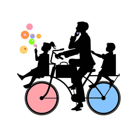 bicycle girl: Vector  Illustration of Silhouette of Father and two children - boy and girl on bicycle