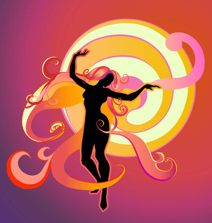 Vector  Illustration of Girl Silhouette dancing on a bright fantasy background  Vector