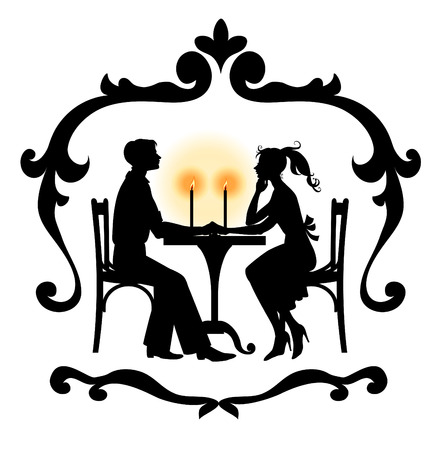 Vector  Illustration Silhouette of the romantic couple in the cafe