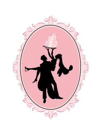 groom and bride: Vector Illustration of Bride and Groom in silhouette with Wedding Cake