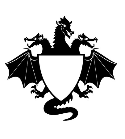 dragon cartoon: Vector  Illustration of dragon Shield  Emblem  Illustration