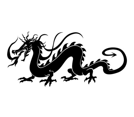 Vector  Illustration of angry chinese dragon in a tattoo tribal style Vector